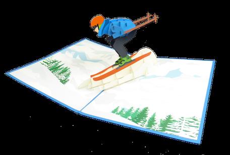 Carte pop-up skieur sur la piste de ski