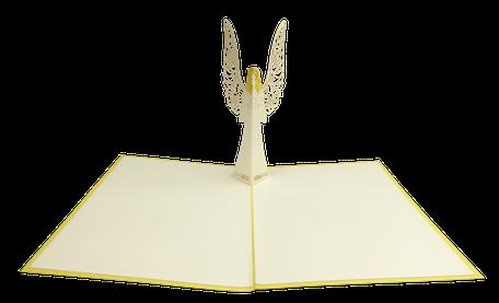 Carte kirigami ange - faire-part baptême - carte de voeux