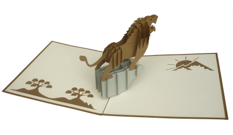 Carte pop-up Lion - carte kirigami Lion