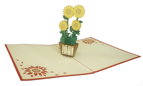 Carte pop-up Tournesols - Carte kirigami tournesol - Carte 3D tournesol