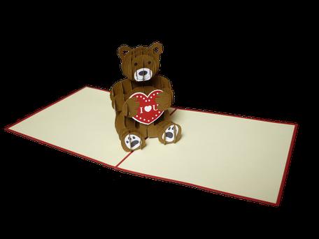 Carte pop-up ourson I love you anniversaire st Valentin naissance