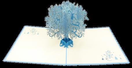 Carte Pop-Up Arbre de flocons - Carte 3D Joyeuses Fêtes