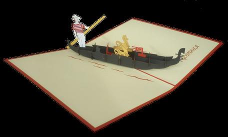 Carte pop-up Venise - carte 3D gondole Venise - carte kirigami Venise