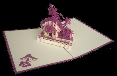 Carte pop-up Maison des fées - Carte kirigami féérie