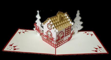 Carte pop-up maison de Noël - carte de voeux haut de gamme