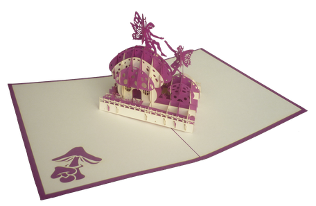 Carte pop-up Maison des fées - Carte kirigami féérie