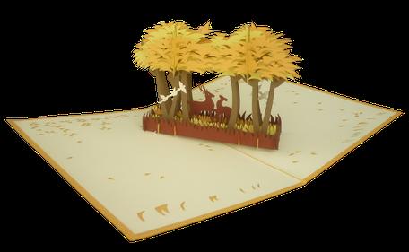 Carte Pop-Up Forêt en automne - Carte Forêt