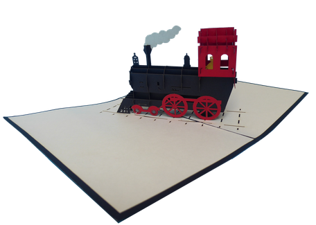 Carte pop-up petit train vapeur