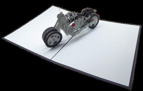 Carte Pop-Up moto - Carte kirigami Moto - Carte 3D moto
