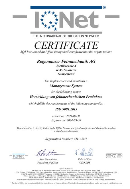 Rogenmoser Feinmechanik AG Zertifikat IQ-Net