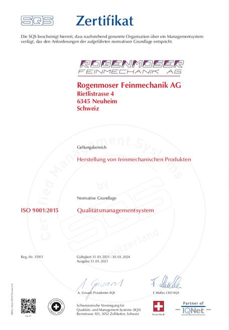 Rogenmoser Feinmechanik AG Zertifikat ISO 9001