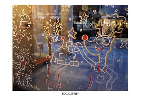Van Bun Communicatie & Vormgeving - Etalage-cartoons - Kookgerief