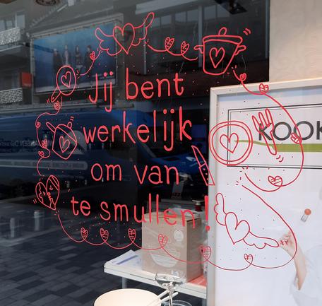 Dirk Van Bun Communicatie & Vormgeving - Illustraties - originele tekening - etalagecartoons - krijtstiften - Lommel - Valentijn
