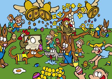 Dirk Van Bun Communicatie & Vormgeving - illustraties - tekeningen - cartoons - corona - Pasen