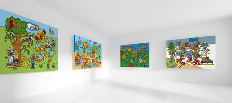 Dirk Van Bun Communicatie & Vormgeving - Illustraties - originele tekening - canvas - Lommel - 4 seizoenen