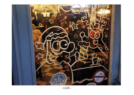 Dirk Van Bun Communicatie & Vormgeving - Illustraties - originele tekening - etalage cartoons - krijtstiften - Lommel- Café
