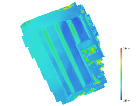 Digitales Oberflächenmodell einer archäologischen Ausgrabung in Falschfarbendarstellung (Archaeo Perspectives 2016)