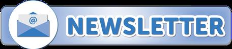 Newsletter blaue Schrift und Briefumschlag