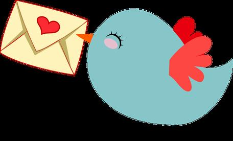 Schriftzug - Newsletter in Rotbuchstaben