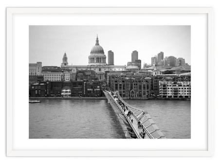 Black and white art print 'London St Pauls And Millennium Bridge' By PASiNGA exclusive ArtHaus collection