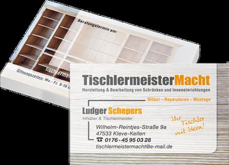 Visitenkarten im Rahmen der Erstellung eines Corporate Designs des Tischlermeisters Ludger Schepers.