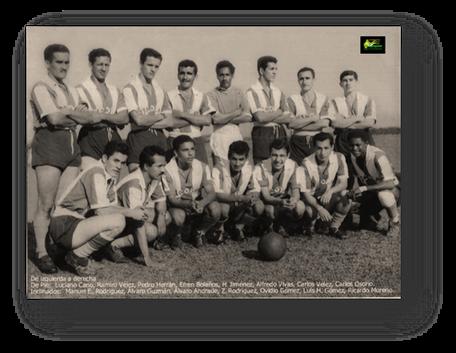 Deportivo Cicolac. De pies, primera fila, de izquierda a derecha, numero 8 Carlos Osorio.  Segunda fila, mismo orden, numero 5 Ovidio Gómez.