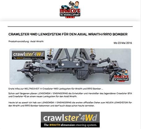 Große Ankündigung des crawlster®4Wd auf Marcos Modellbaublog-Startseite