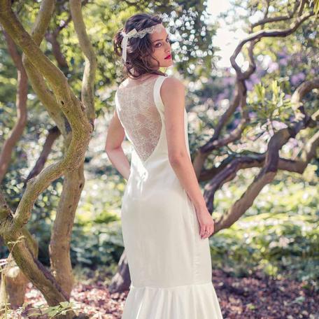Bohemian Brautkleid mit Schleppe