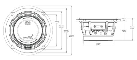 Skizze Maße Audiofrog GS40 Mitteltöner