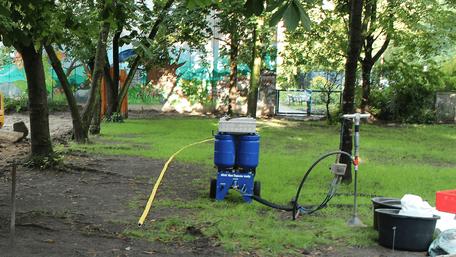 Bodenbelüftung eines Pausenhofs an einer Schule in Fennphul