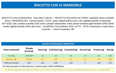 VENDITA ONLINE PRODOTTI TOSCANI ARTIGINALI - BISCOTTO CON LE MANDORLE - Pasticceria Masoni Vicopisano