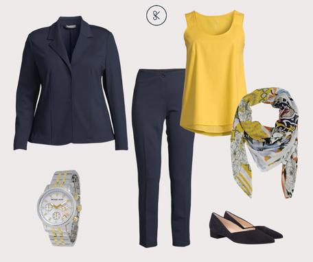 Business Casual Outfit sommerlich in gelb und blau
