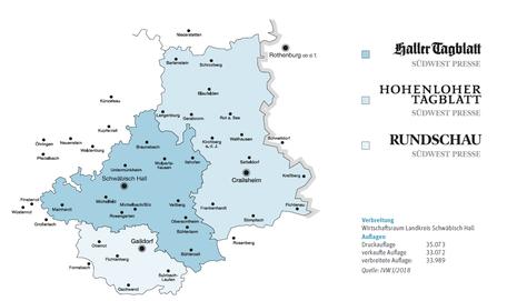 Unser Verbreitungsgebiet für das Hohenloher Tagblatt, Haller Tagblatt und der Rundschau. Bessere deinen Kontostand als Zeitungszusteller auf.