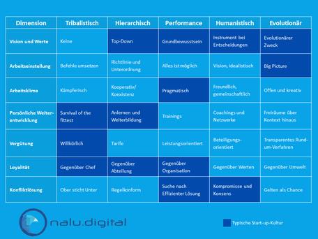 Tabelle Start-up-Kultur