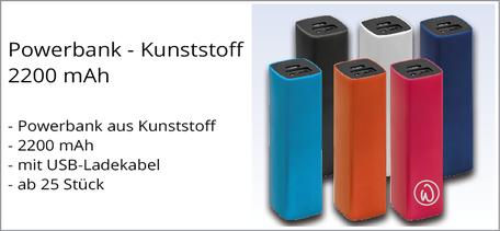 Powerbank Kunststoff günstig mit Logo