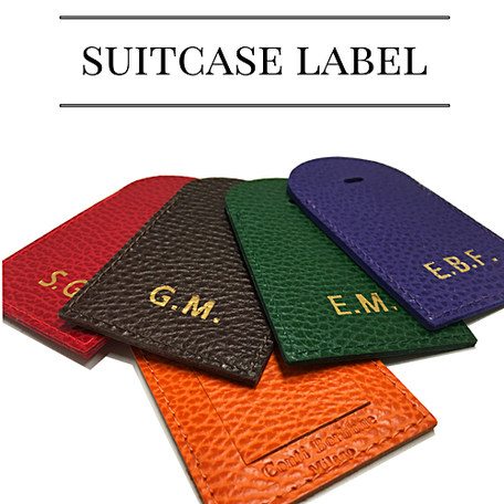 Personalized leather suitcase label
