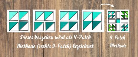 4-patch Methode beim Patchwork