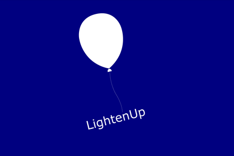 UX Design Case Cover - A a white balloon with the name Lighten up hanging on it flies away lightly