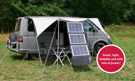 DCsolar Power Move mobile solar panel in your pocket. A powerful, robust solar system with 100 watts and 440 Wh/day in summer. The ideal solar module for on the go with a camper, motorhome, van, VW bus and sailing boat.