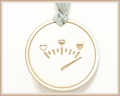graviertes Schild mit Liebes-Barometer