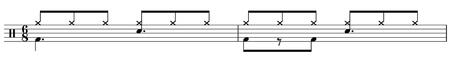 6/8 Groove Schlagzeugnoten