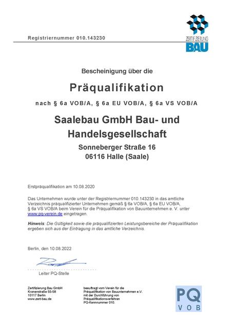 Zertifizierung Bau Präqualifikation Saalebau GmbH Estrichleger Estrichbodenleger Halle Leipzig Magdeburg Berlin Dessau Bitterfeld