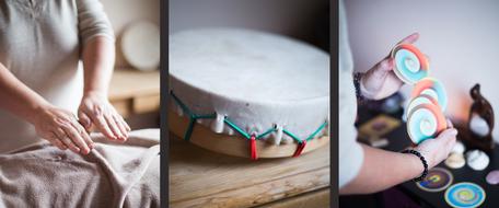 Solange : mains pendant un soin - tambour - mains battant un oracle