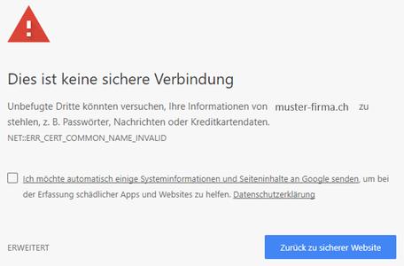 Warnungshinweis bei Google Chrom mit restriktiven Sicherheitseinstellungen