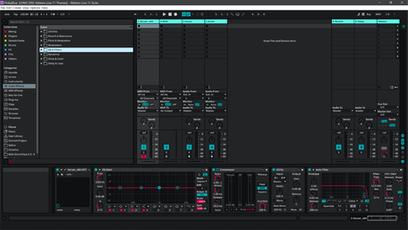 Ableton Live 11 theme PinkyBlue Session View