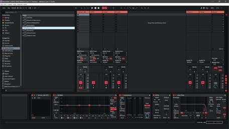 Ableton Live 11 theme NeonRed Session View
