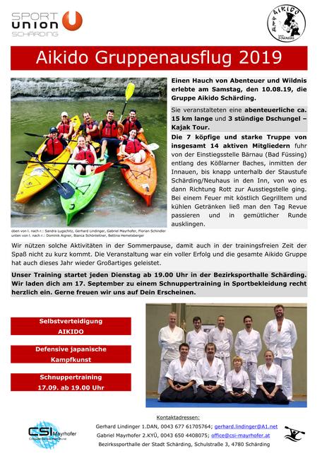 Aikido Schärding Schnupperkurs Flyer Kajak Gruppenausflug 2019 Sport Union Schärding Aikido