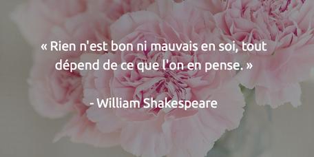 Rien n'est bon ni mauvais en soi, tout dépend de ce que l'on en pense Willam Shakespeare