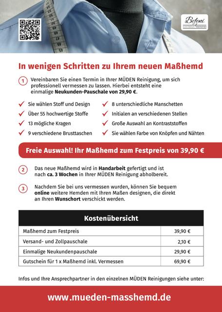 Versandreinigung-mueden.de, Masshemd, Befeni Werbeflyern Rückseite mit Preis