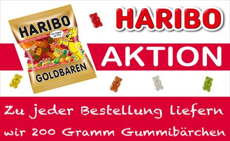 Versandreinigung-mueden.de, Easy Auftrag, Aktion Haribo, Bild von Flyer mit Haribotüte